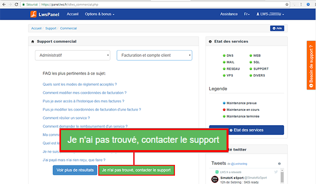 Contacter le support commercial par mail